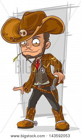 A vector illustration of cartoon cool cowboy in leather jacket