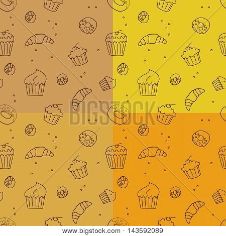 Vector set of pastry goods seamless pattern backgrounds.