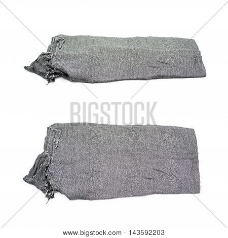 Folded gray scarf isolated over the white background, set of two different foreshortenings