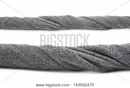 Twisted strip of gray fabric isolated over the white background, set of two different foreshortenings
