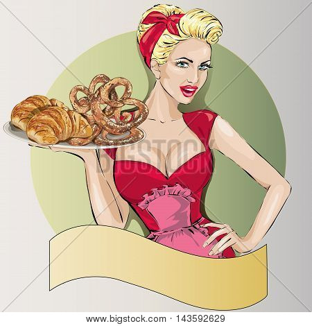 Pop Art Woman With Food Tray. Pin-up Fashion Girl, Sexy Wife