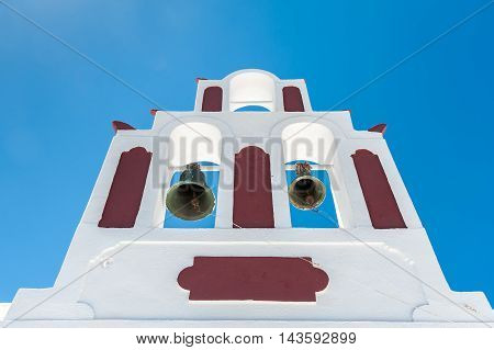 White and red bells tower in Santorini - Greece - Greece