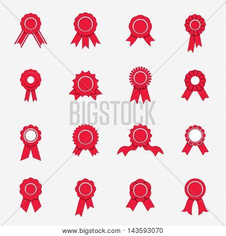 Red rosette icons isolated on a white background. Flat style. Vector illustration