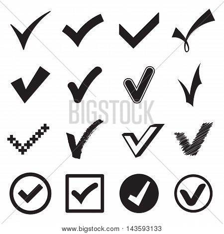 Collection of check mark icons isolated on a white background . Vector illustration