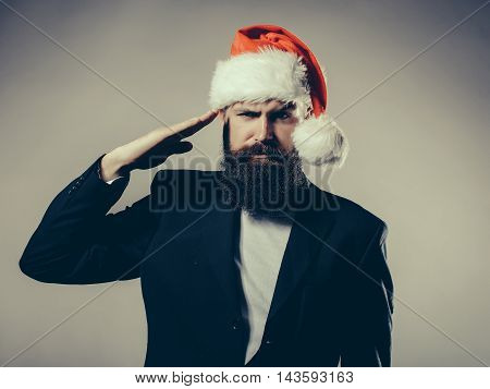 Bearded Man In Santa Claus Hat