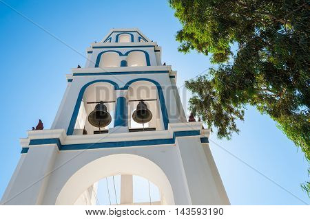 View of a bell tower in Santorini - Greece