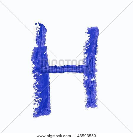 Single h latin letter symbol drawn with a wax crayon isolated over the white background