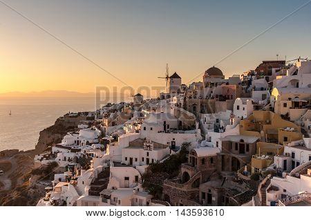 Amazing famous sunset in Oia - Santorini - Greece