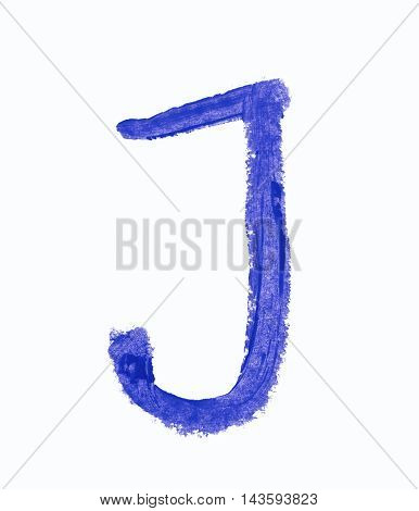 Single j latin letter symbol drawn with a wax crayon isolated over the white background