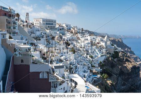 Beautiful view of Fira in Santorini island - Greece