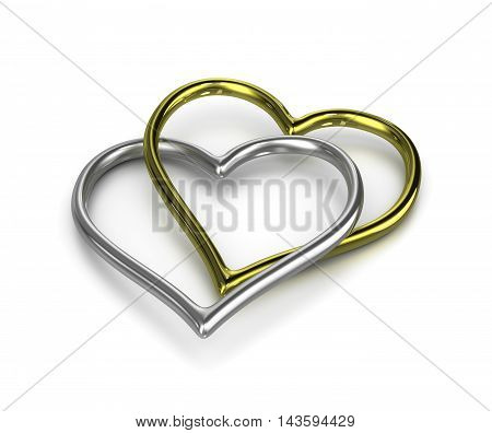 Couple Of Chained Heart Shaped Golden And Silver Rings