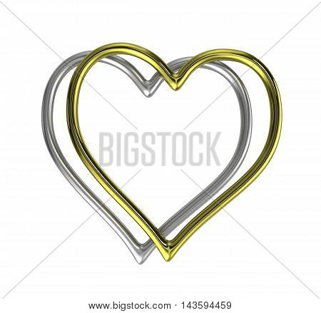 Two Heart Shaped Golden And Silver Rings Frame