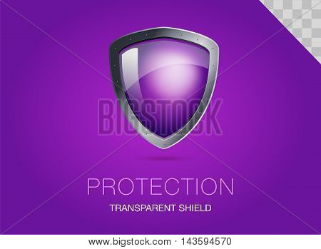 Realistic metal shield with transparent armored glass. Vector illustration of a protection or security. Purple background