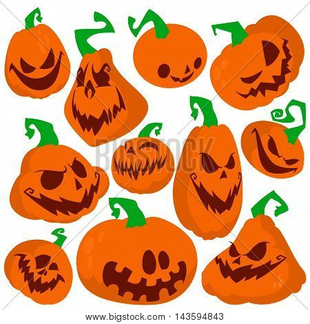 Halloween pumpkin vector 11 icons set. Emotion Variation. Simple flat style design elements. Set of silhouette spooky horror images of pumpkins. with various facial expressions
