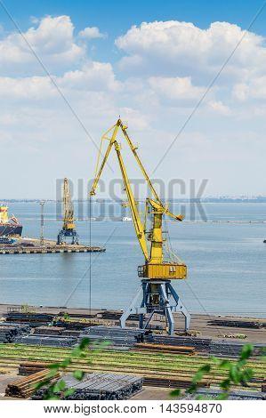 Crane in the international sea port industrial zone
