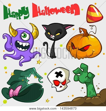 Vector set of Halloween pumpkin and attributes icons for decoration. Witch cat pumpkin head skull witch hat zombie hand violet monster big candy.