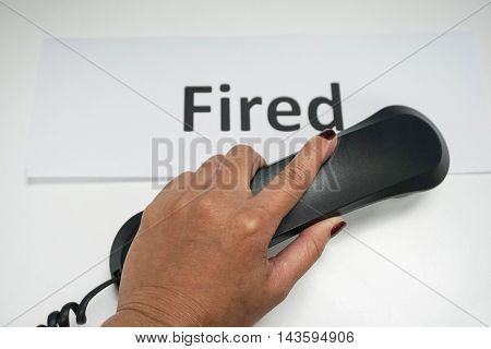 concept of calling to fire the employee