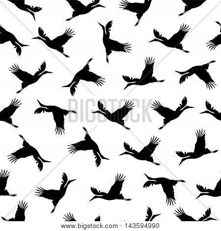 Seamless vector pattern - stork black solhouettes on white