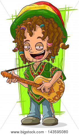 A vector illustration of cartoon happy Rastaman with guitar