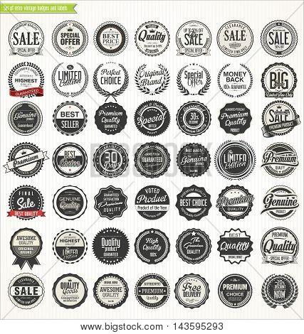 Premium quality retro vintage  labels collection vector
