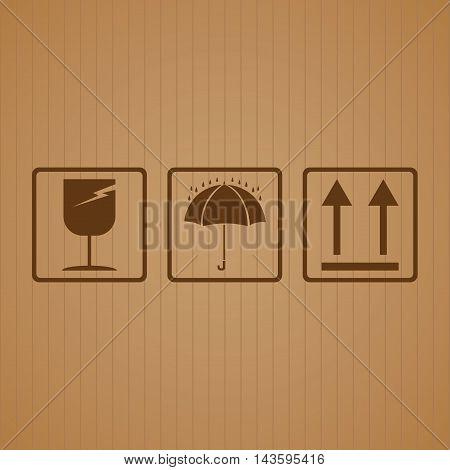 Fragile symbol with cardboard texture background. Fragile symbol vector.