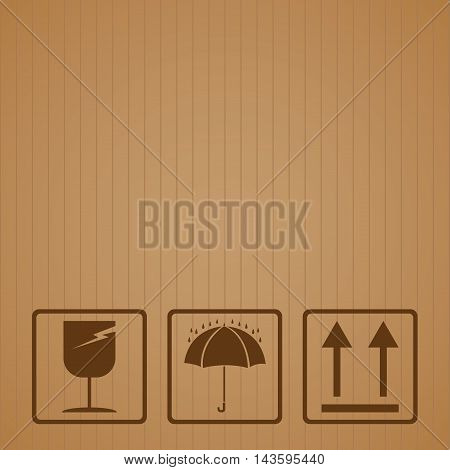 Fragile symbol with brown cardboard texture. Fragile symbol vector.