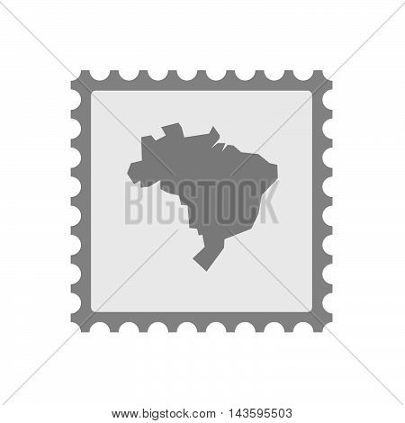 Isolated Mail Stamp Icon With  A Map Of Brazil
