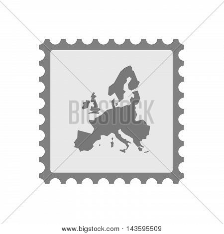 Isolated Mail Stamp Icon With  A Map Of Europe