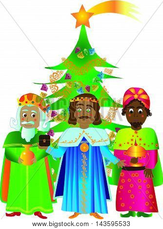 Three Kings with Christmas tree and white background . Vector illustration.