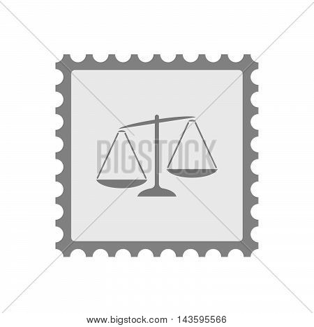 Isolated Mail Stamp Icon With  An Unbalanced Weight Scale