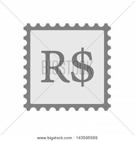 Isolated Mail Stamp Icon With A Brazillian Real Currency Sign