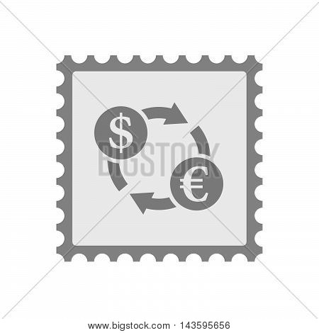 Isolated Mail Stamp Icon With A Dollar Euro Exchange Sign