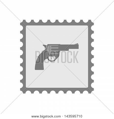 Isolated Mail Stamp Icon With A Gun
