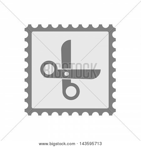 Isolated Mail Stamp Icon With A Scissors