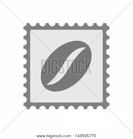 Isolated Mail Stamp Icon With A Coffee Bean