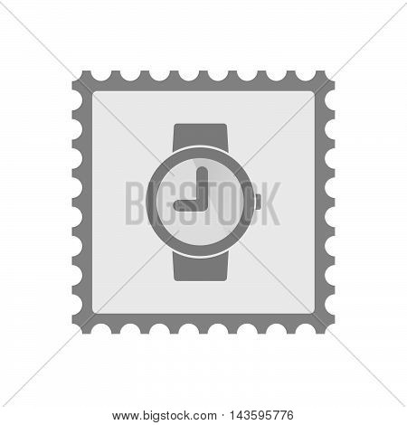 Isolated Mail Stamp Icon With A Wrist Watch