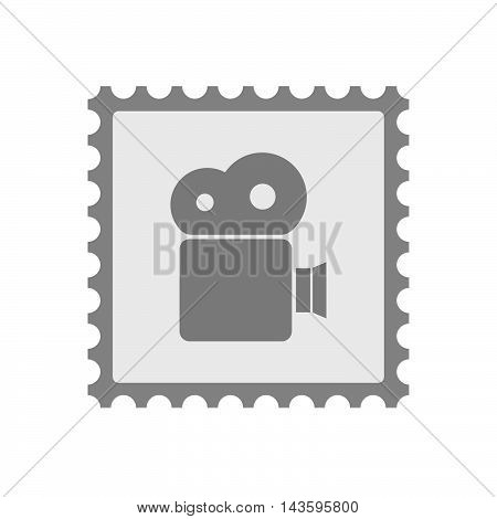 Isolated Mail Stamp Icon With A Film Camera