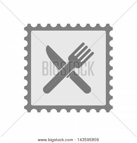 Isolated Mail Stamp Icon With A Knife And A Fork