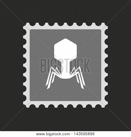 Isolated Mail Stamp Icon With A Virus