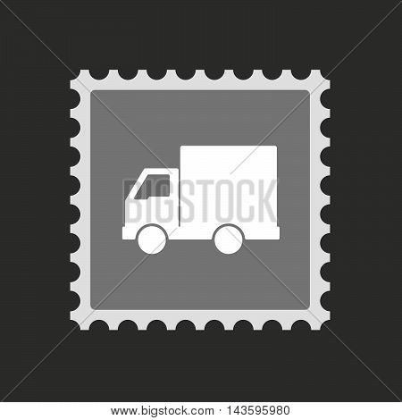Isolated Mail Stamp Icon With A  Delivery Truck
