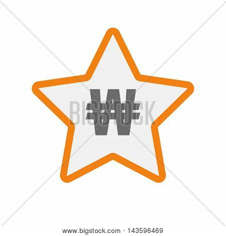 Isolated Line Art Star Icon With A Won Currency Sign