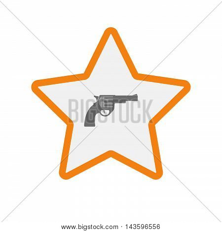 Isolated Line Art Star Icon With A Gun