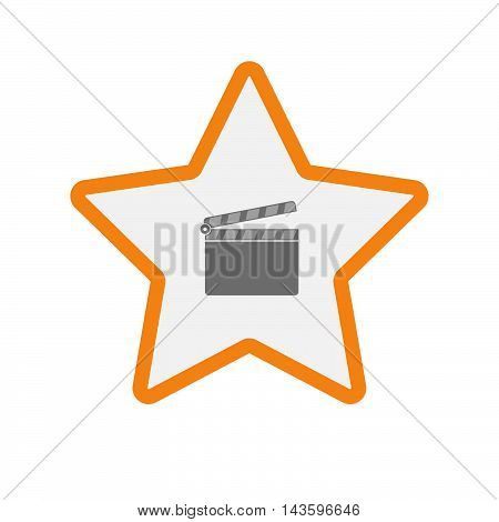 Isolated Line Art Star Icon With A Clapperboard