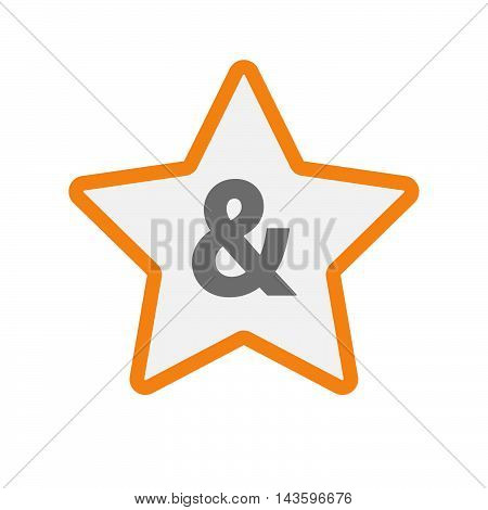 Isolated Line Art Star Icon With An Ampersand