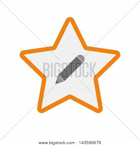 Isolated Line Art Star Icon With A Pencil