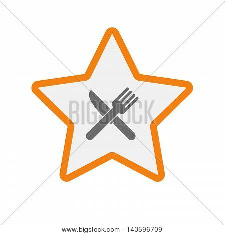 Isolated Line Art Star Icon With A Knife And A Fork