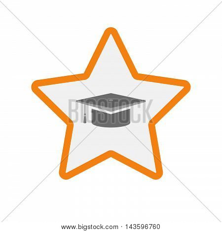 Isolated Line Art Star Icon With A Graduation Cap