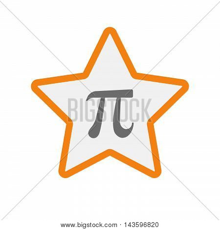 Isolated Line Art Star Icon With The Number Pi Symbol