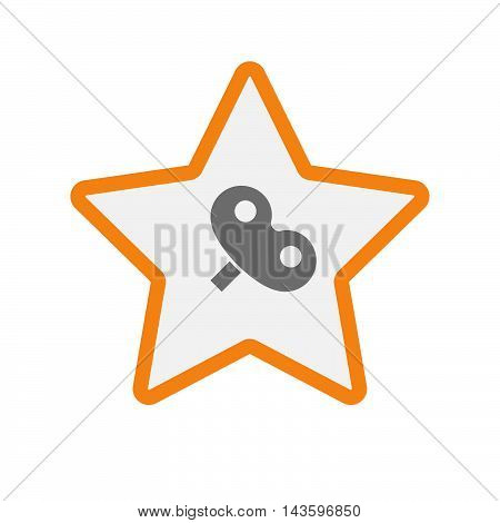 Isolated Line Art Star Icon With A Toy Crank