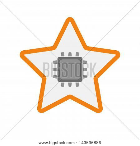Isolated Line Art Star Icon With A Cpu